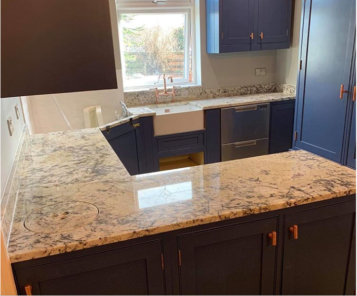 Unique and bespoke Ice Blue worktop for Rotherham Kitchen and Utility