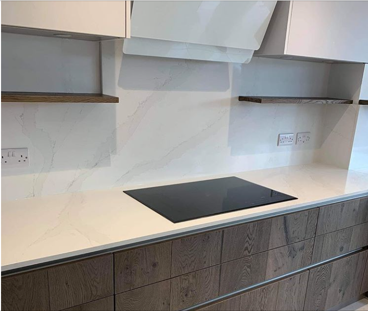 Calacutta Gold Quartz worktops for Sheffield Kitchen